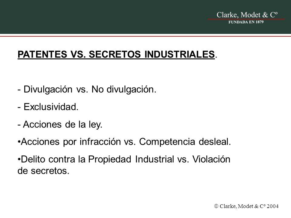 Clarke, Modet & Cº 2004 PATENTES VS. SECRETOS INDUSTRIALES. - Divulgación vs. No divulgación. - Exclusividad. - Acciones de la ley. Acciones por infra