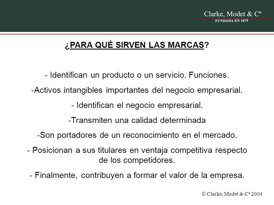 Clarke, Modet & Cº 2004 ¿PARA QUÉ SIRVEN LAS MARCAS? - Identifican un producto o un servicio. Funciones. -Activos intangibles importantes del negocio