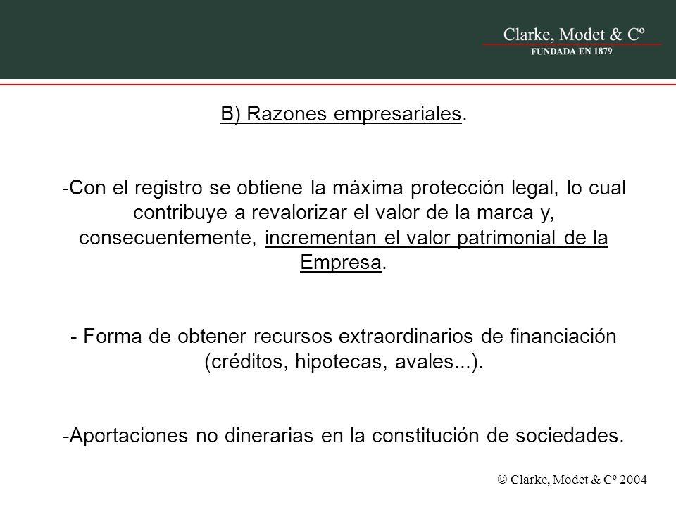 Clarke, Modet & Cº 2004 B) Razones empresariales. -Con el registro se obtiene la máxima protección legal, lo cual contribuye a revalorizar el valor de