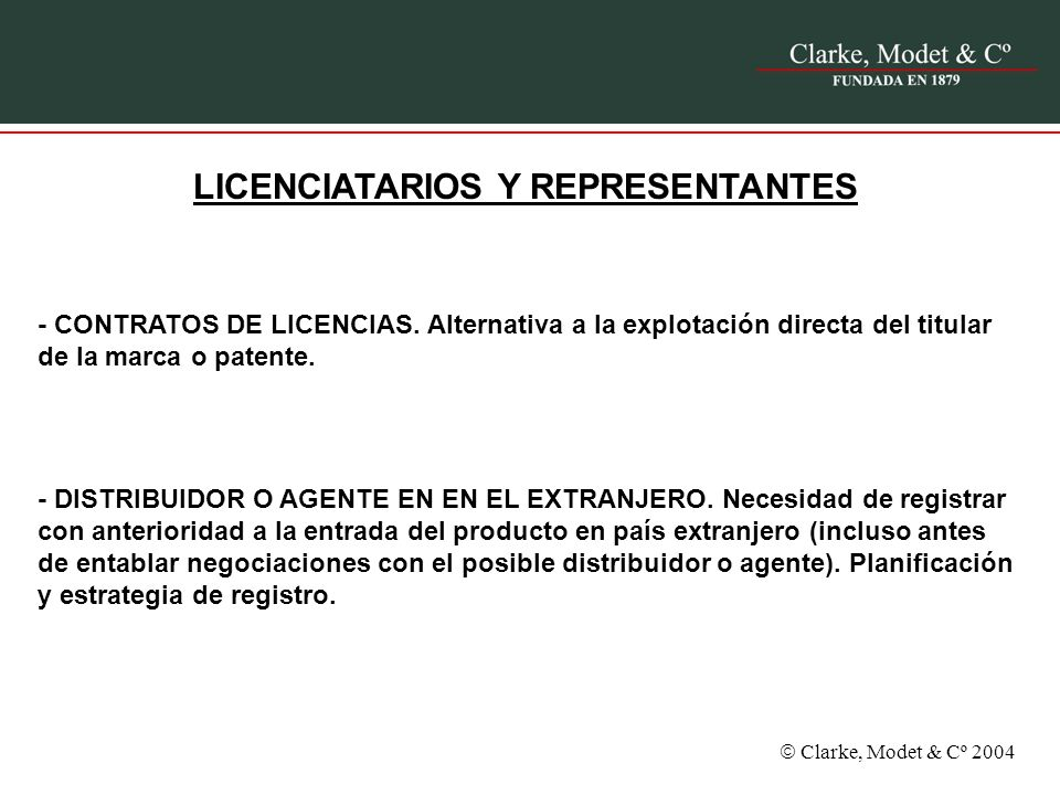 Clarke, Modet & Cº 2004 REGISTRO MERCANTIL vs.