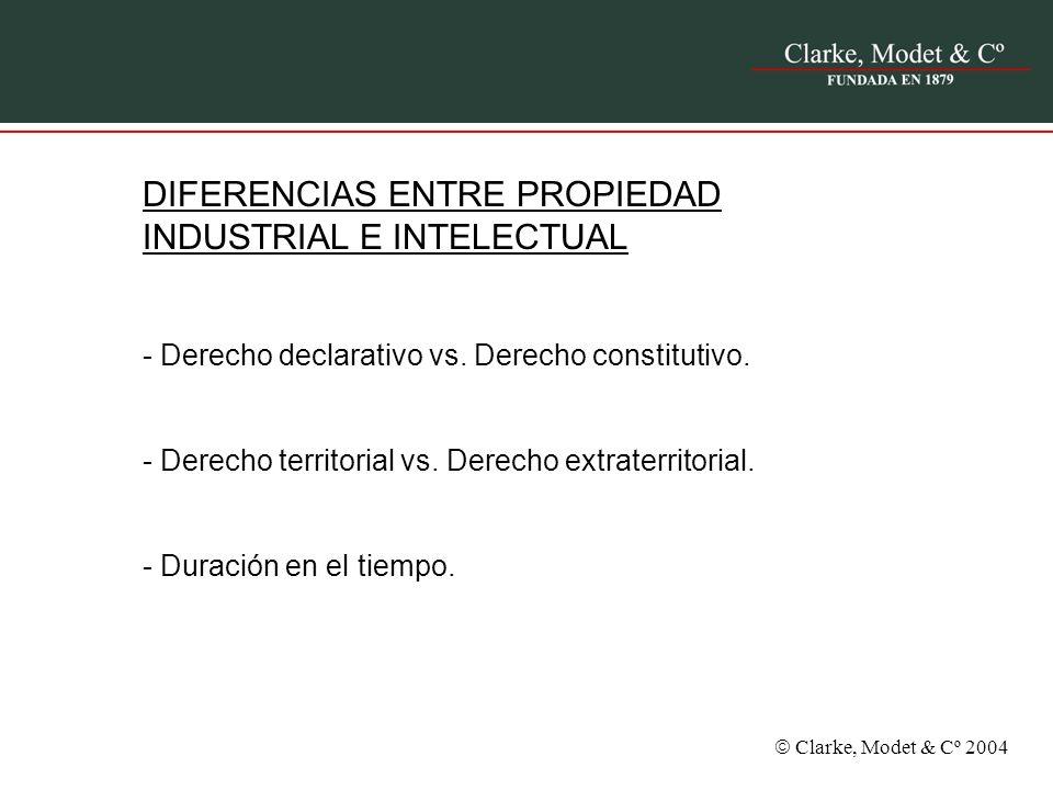 Clarke, Modet & Cº 2004 DIFERENCIAS ENTRE PROPIEDAD INDUSTRIAL E INTELECTUAL - Derecho declarativo vs. Derecho constitutivo. - Derecho territorial vs.