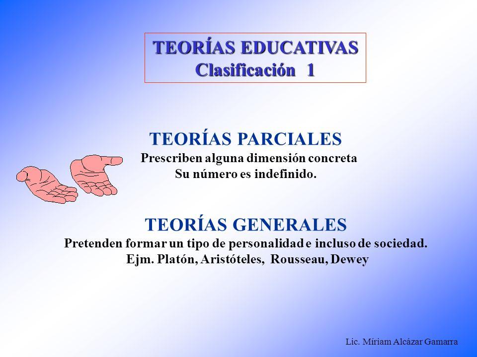 Lic. Míriam Alcázar Gamarra TEORÍAS EDUCATIVAS Clasificación 1 TEORÍAS PARCIALES Prescriben alguna dimensión concreta Su número es indefinido. TEORÍAS