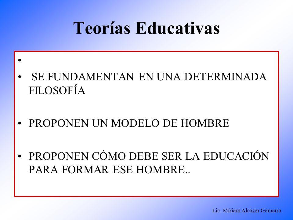 Lic. Míriam Alcázar Gamarra Teorías Educativas SE FUNDAMENTAN EN UNA DETERMINADA FILOSOFÍA PROPONEN UN MODELO DE HOMBRE PROPONEN CÓMO DEBE SER LA EDUC