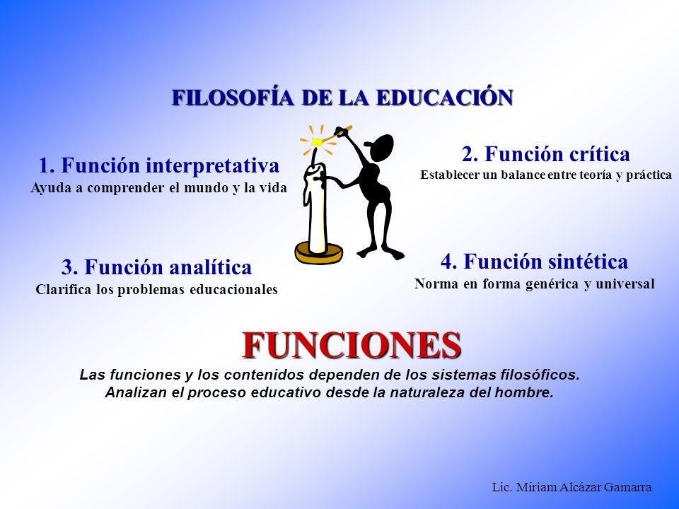 Lic. Míriam Alcázar Gamarra FILOSOFÍA DE LA EDUCACIÓN FUNCIONES Las funciones y los contenidos dependen de los sistemas filosóficos. Analizan el proce