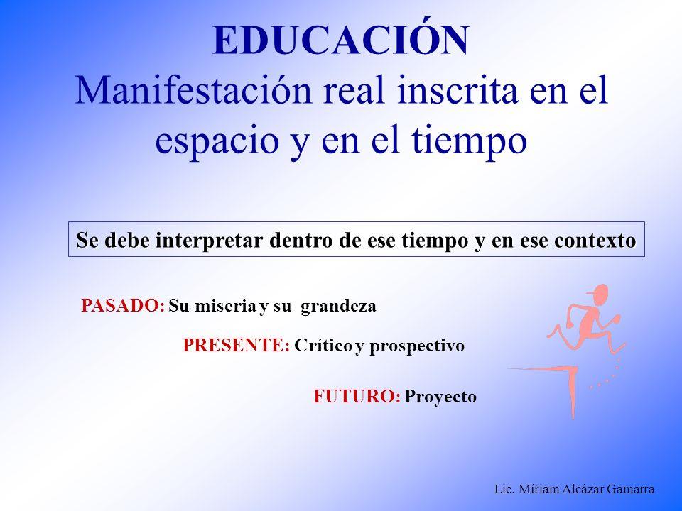 Lic. Míriam Alcázar Gamarra EDUCACIÓN Manifestación real inscrita en el espacio y en el tiempo Se debe interpretar dentro de ese tiempo y en ese conte