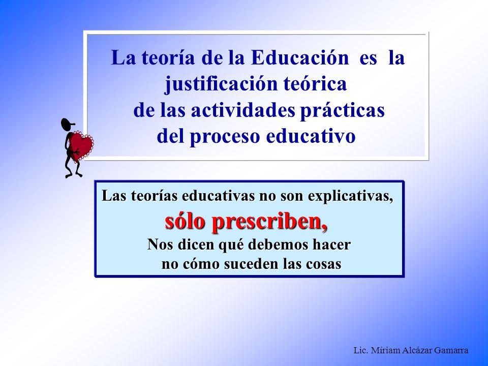 Lic. Míriam Alcázar Gamarra La teoría de la Educación es la justificación teórica de las actividades prácticas del proceso educativo Las teorías educa