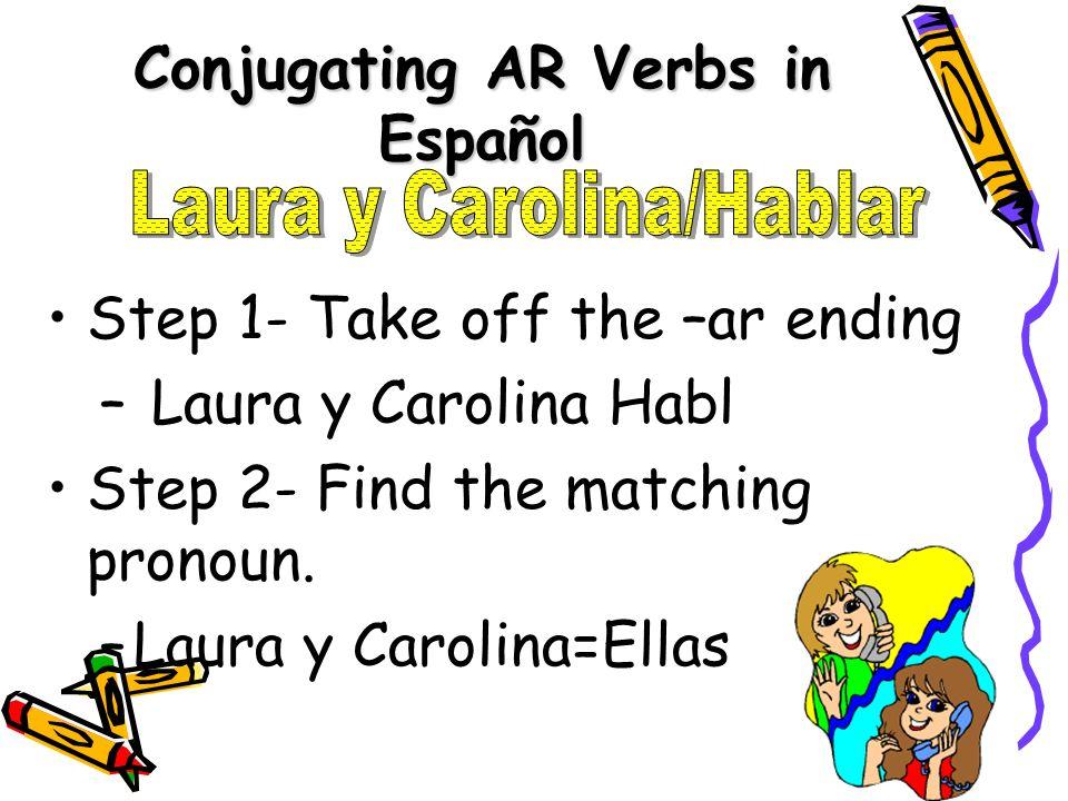 Conjugating AR Verbs in Español Step 1- Take off the –ar ending – Laura y Carolina Habl Step 2- Find the matching pronoun. –L–Laura y Carolina=Ellas
