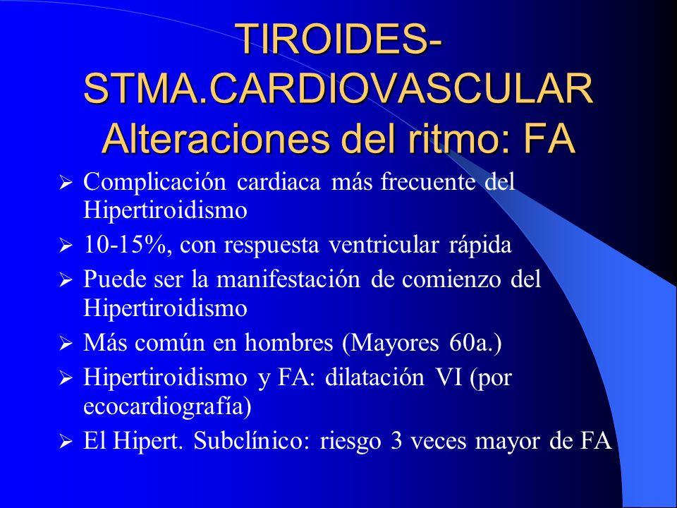 TIROIDES- STMA.CARDIOVASCULAR Alteraciones del ritmo: FA Complicación cardiaca más frecuente del Hipertiroidismo 10-15%, con respuesta ventricular ráp