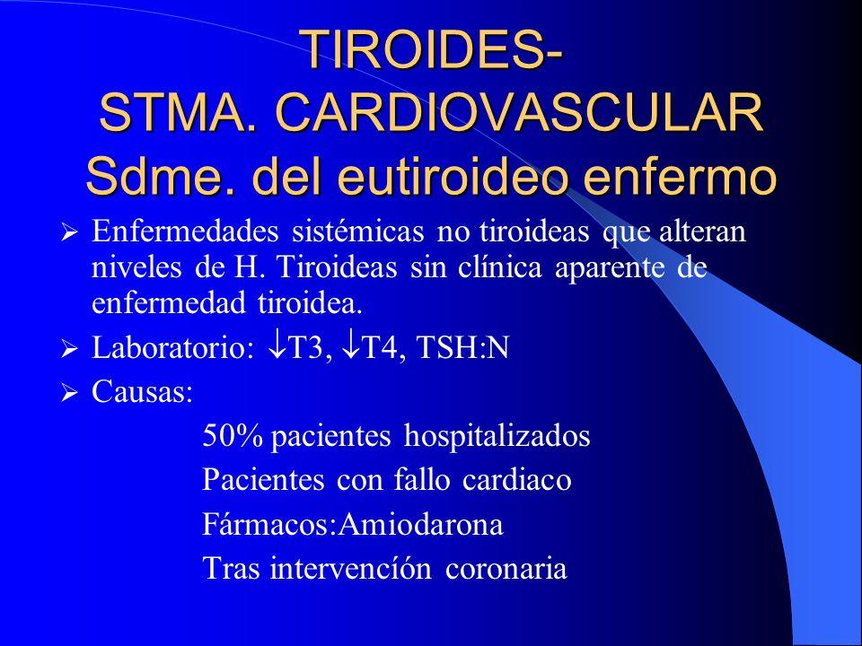 TIROIDES- STMA. CARDIOVASCULAR Sdme. del eutiroideo enfermo Enfermedades sistémicas no tiroideas que alteran niveles de H. Tiroideas sin clínica apare