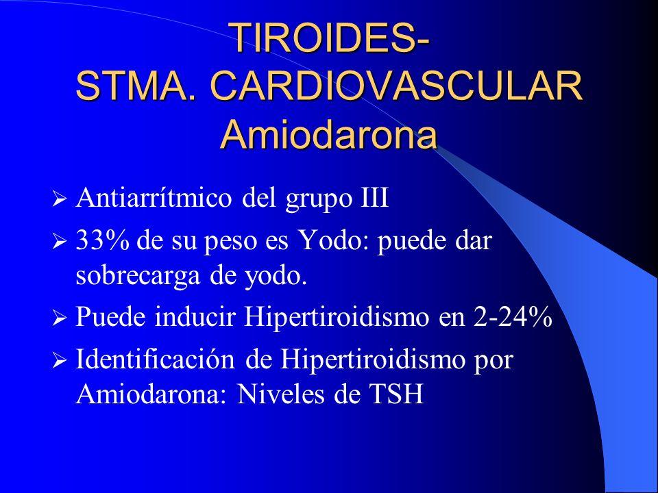 TIROIDES- STMA. CARDIOVASCULAR Amiodarona Antiarrítmico del grupo III 33% de su peso es Yodo: puede dar sobrecarga de yodo. Puede inducir Hipertiroidi