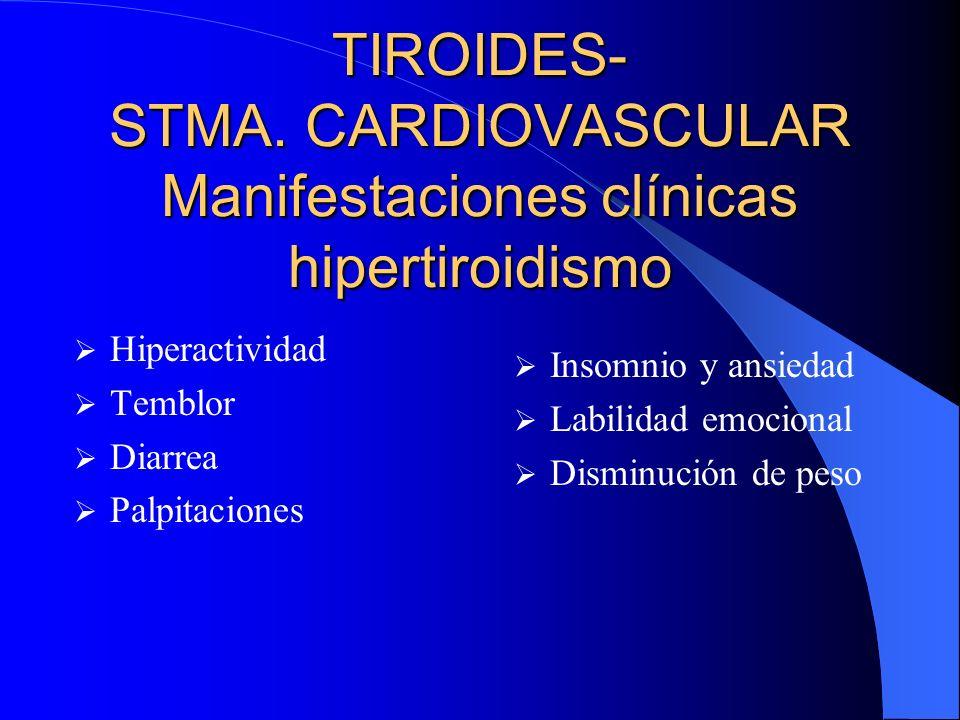 TIROIDES- STMA. CARDIOVASCULAR Manifestaciones clínicas hipertiroidismo Hiperactividad Temblor Diarrea Palpitaciones Insomnio y ansiedad Labilidad emo