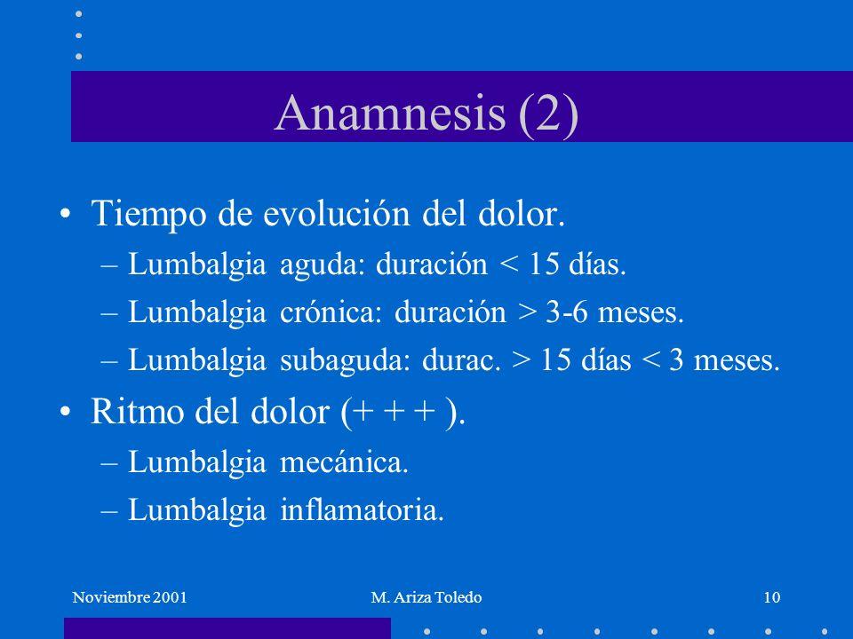 Noviembre 2001M. Ariza Toledo10 Anamnesis (2) Tiempo de evolución del dolor. –Lumbalgia aguda: duración < 15 días. –Lumbalgia crónica: duración > 3-6