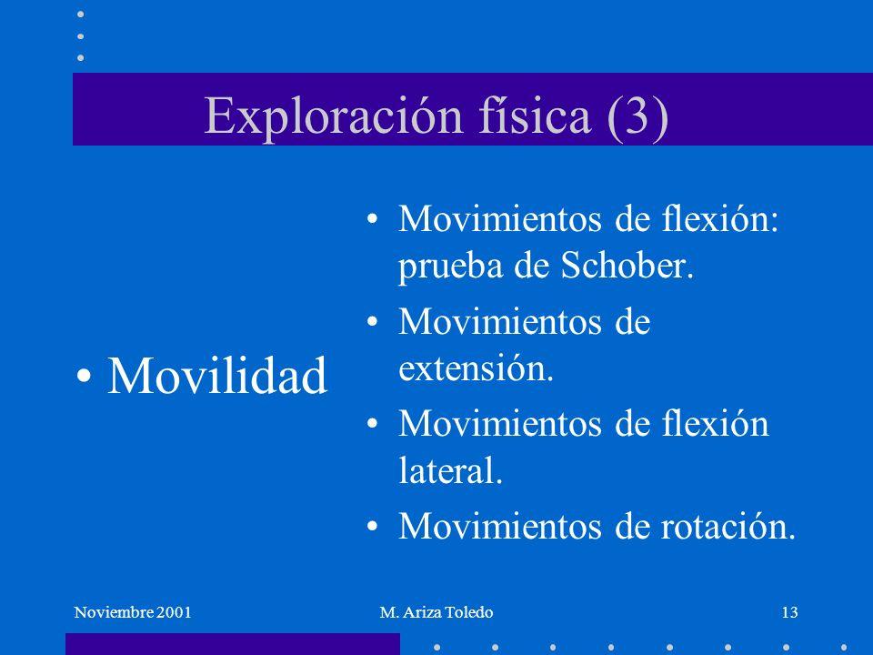 Noviembre 2001M. Ariza Toledo13 Exploración física (3) Movilidad Movimientos de flexión: prueba de Schober. Movimientos de extensión. Movimientos de f