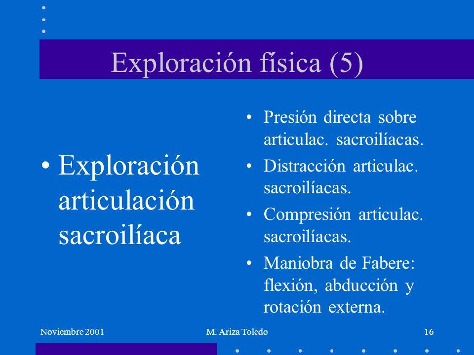 Noviembre 2001M. Ariza Toledo16 Exploración física (5) Exploración articulación sacroilíaca Presión directa sobre articulac. sacroilíacas. Distracción