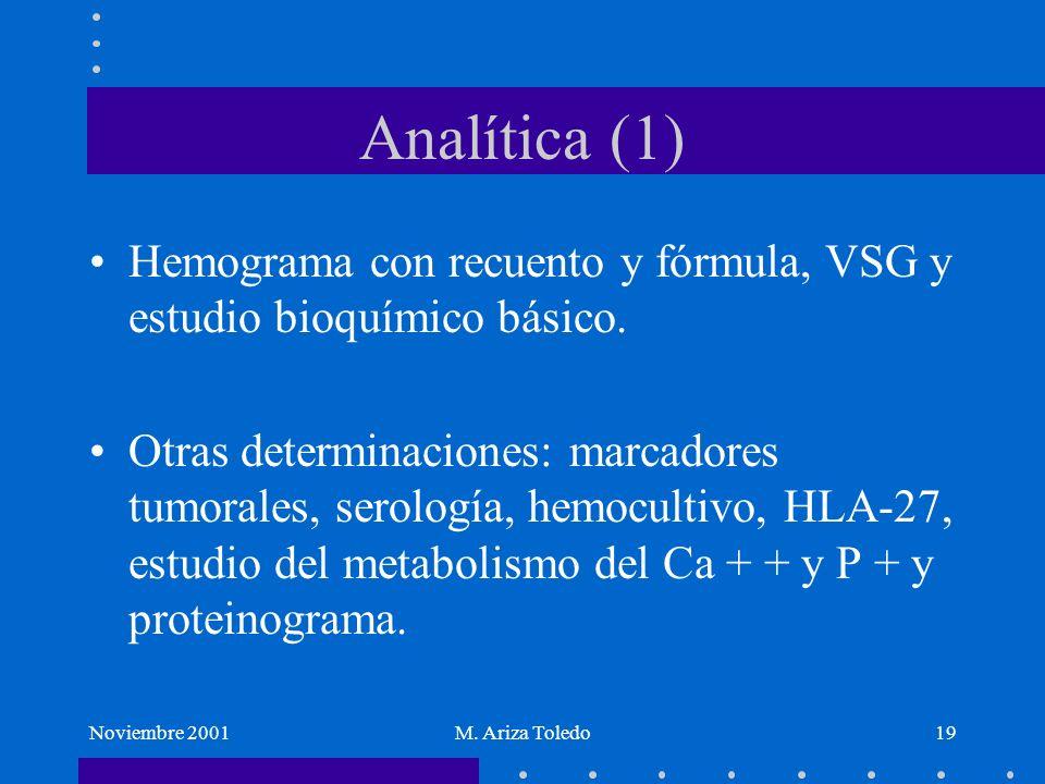 Noviembre 2001M. Ariza Toledo19 Analítica (1) Hemograma con recuento y fórmula, VSG y estudio bioquímico básico. Otras determinaciones: marcadores tum