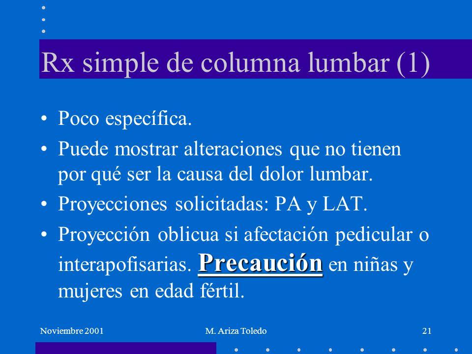 Noviembre 2001M. Ariza Toledo21 Rx simple de columna lumbar (1) Poco específica. Puede mostrar alteraciones que no tienen por qué ser la causa del dol