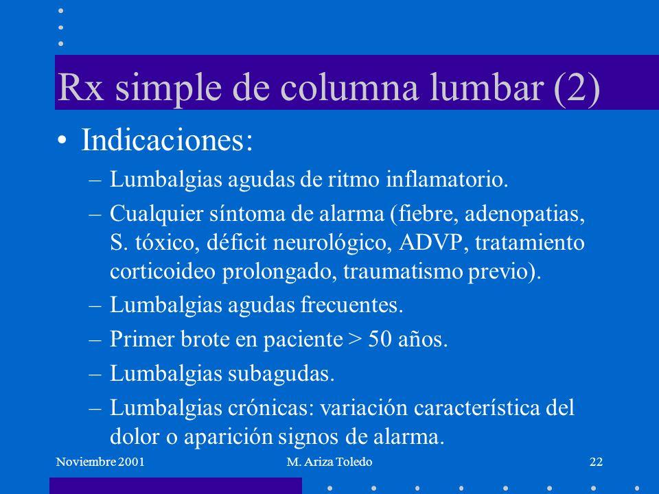 Noviembre 2001M. Ariza Toledo22 Rx simple de columna lumbar (2) Indicaciones: –Lumbalgias agudas de ritmo inflamatorio. –Cualquier síntoma de alarma (