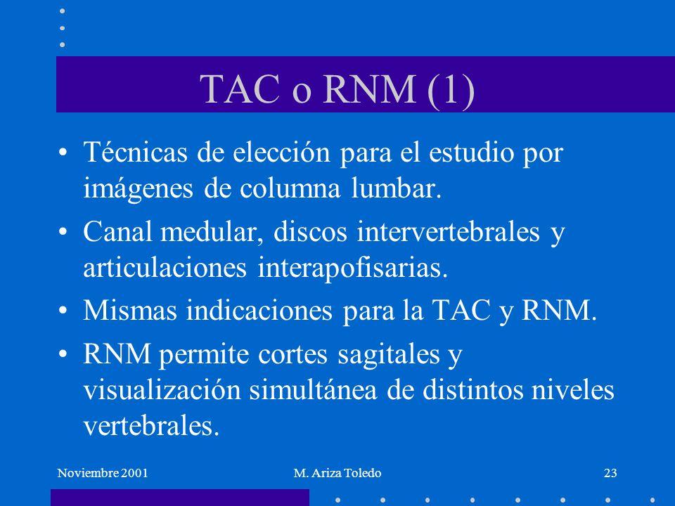 Noviembre 2001M. Ariza Toledo23 TAC o RNM (1) Técnicas de elección para el estudio por imágenes de columna lumbar. Canal medular, discos intervertebra