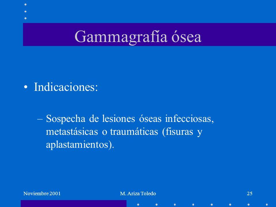 Noviembre 2001M. Ariza Toledo25 Gammagrafía ósea Indicaciones: –Sospecha de lesiones óseas infecciosas, metastásicas o traumáticas (fisuras y aplastam