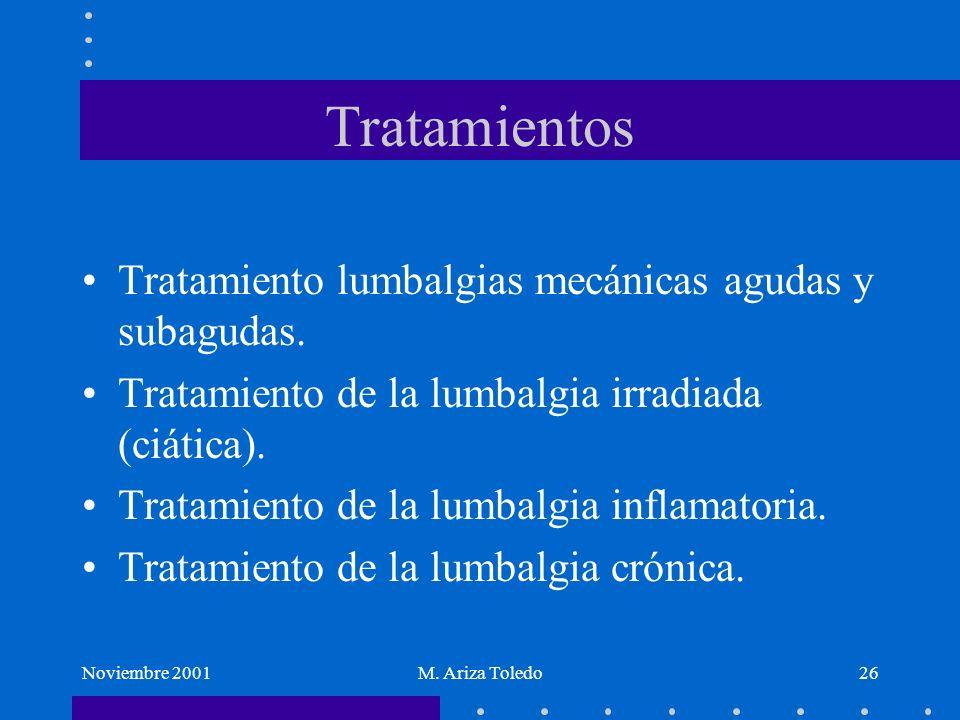 Noviembre 2001M. Ariza Toledo26 Tratamientos Tratamiento lumbalgias mecánicas agudas y subagudas. Tratamiento de la lumbalgia irradiada (ciática). Tra