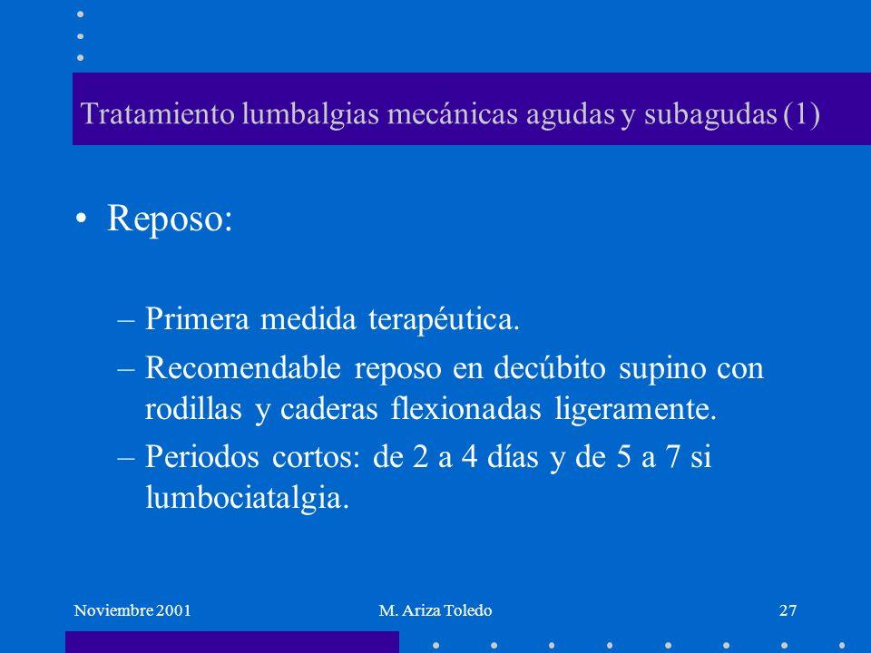 Noviembre 2001M. Ariza Toledo27 Tratamiento lumbalgias mecánicas agudas y subagudas (1) Reposo: –Primera medida terapéutica. –Recomendable reposo en d
