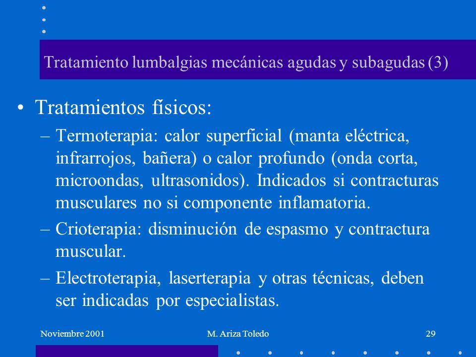 Noviembre 2001M. Ariza Toledo29 Tratamiento lumbalgias mecánicas agudas y subagudas (3) Tratamientos físicos: –Termoterapia: calor superficial (manta