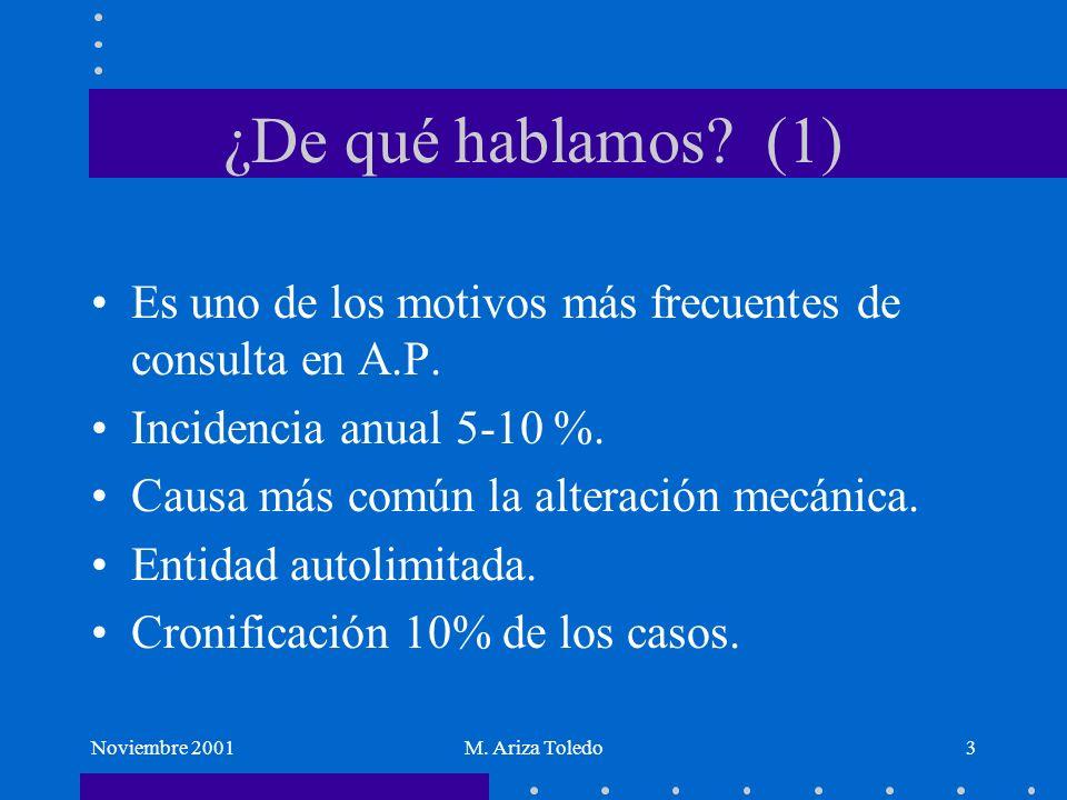 Noviembre 2001M. Ariza Toledo3 ¿De qué hablamos? (1) Es uno de los motivos más frecuentes de consulta en A.P. Incidencia anual 5-10 %. Causa más común