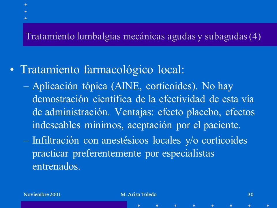Noviembre 2001M. Ariza Toledo30 Tratamiento lumbalgias mecánicas agudas y subagudas (4) Tratamiento farmacológico local: –Aplicación tópica (AINE, cor