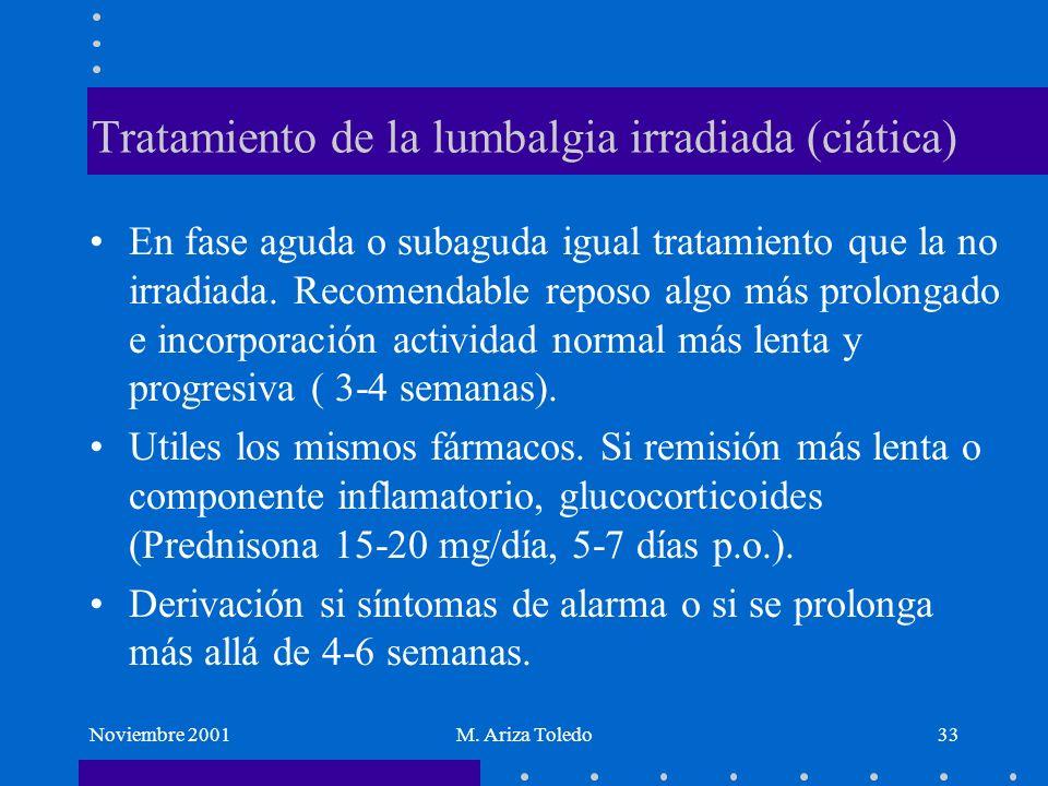Noviembre 2001M. Ariza Toledo33 Tratamiento de la lumbalgia irradiada (ciática) En fase aguda o subaguda igual tratamiento que la no irradiada. Recome