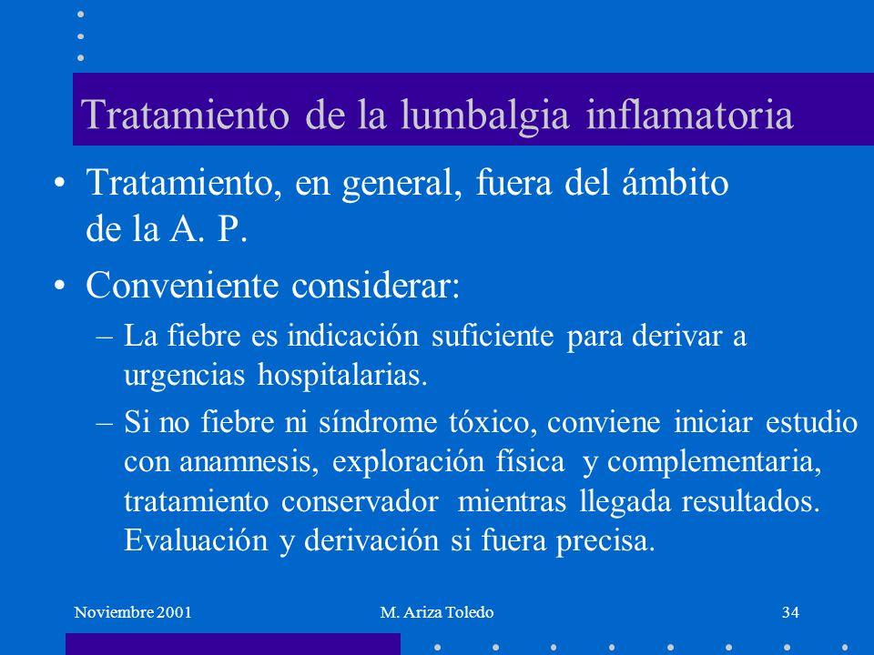 Noviembre 2001M. Ariza Toledo34 Tratamiento de la lumbalgia inflamatoria Tratamiento, en general, fuera del ámbito de la A. P. Conveniente considerar: