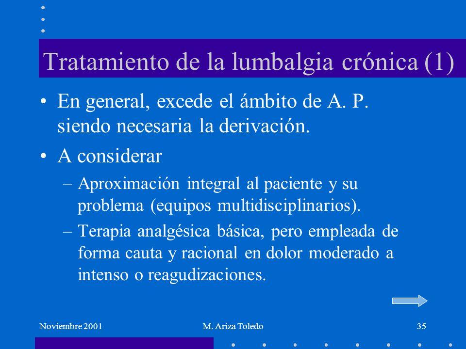 Noviembre 2001M. Ariza Toledo35 Tratamiento de la lumbalgia crónica (1) En general, excede el ámbito de A. P. siendo necesaria la derivación. A consid