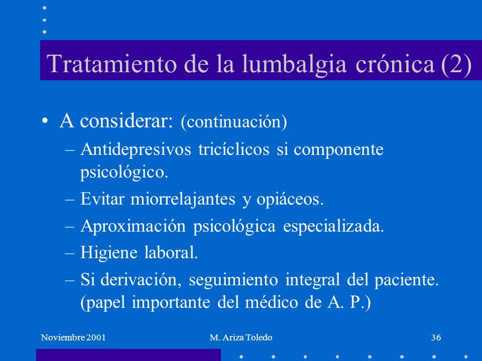 Noviembre 2001M. Ariza Toledo36 Tratamiento de la lumbalgia crónica (2) A considerar: (continuación) –Antidepresivos tricíclicos si componente psicoló
