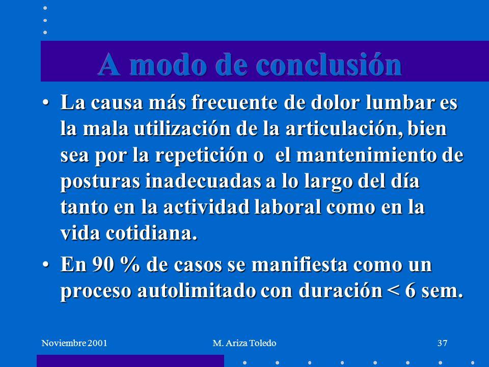 Noviembre 2001M. Ariza Toledo37 La causa más frecuente de dolor lumbar es la mala utilización de la articulación, bien sea por la repetición o el mant