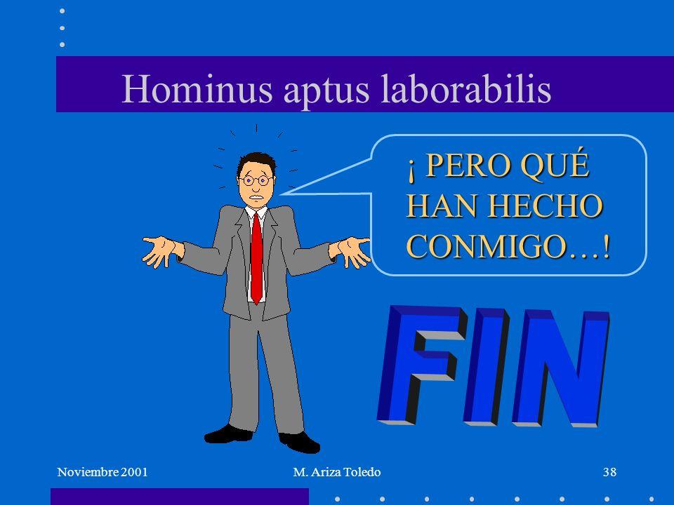 Noviembre 2001M. Ariza Toledo38 Hominus aptus laborabilis ¡ PERO QUÉ HAN HECHO CONMIGO…!