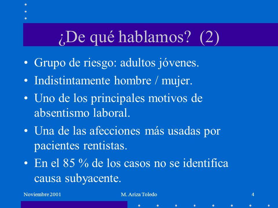 Noviembre 2001M. Ariza Toledo4 ¿De qué hablamos? (2) Grupo de riesgo: adultos jóvenes. Indistintamente hombre / mujer. Uno de los principales motivos