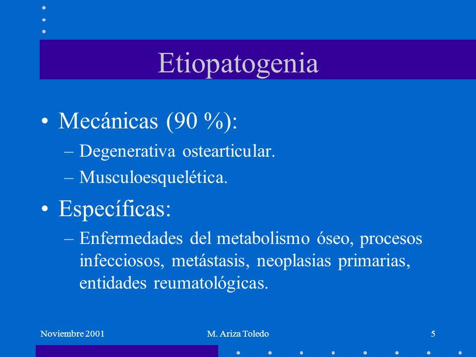 Noviembre 2001M. Ariza Toledo5 Etiopatogenia Mecánicas (90 %): –Degenerativa ostearticular. –Musculoesquelética. Específicas: –Enfermedades del metabo