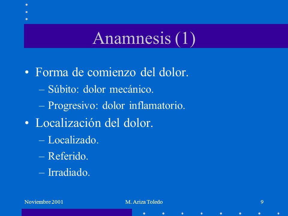 Noviembre 2001M. Ariza Toledo9 Anamnesis (1) Forma de comienzo del dolor. –Súbito: dolor mecánico. –Progresivo: dolor inflamatorio. Localización del d