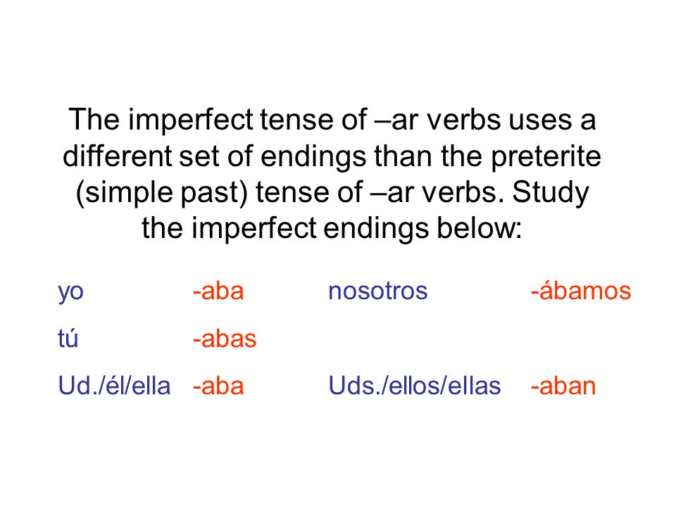 Lets do some examples.What is the correct imperfect form of the given verb in these sentences.