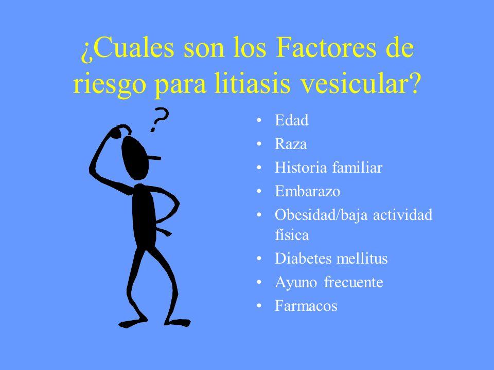 ¿Cuales son los Factores de riesgo para litiasis vesicular? Edad Raza Historia familiar Embarazo Obesidad/baja actividad física Diabetes mellitus Ayun