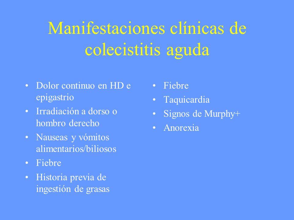 Manifestaciones clínicas de colecistitis aguda Dolor continuo en HD e epigastrio Irradiación a dorso o hombro derecho Nauseas y vómitos alimentarios/b