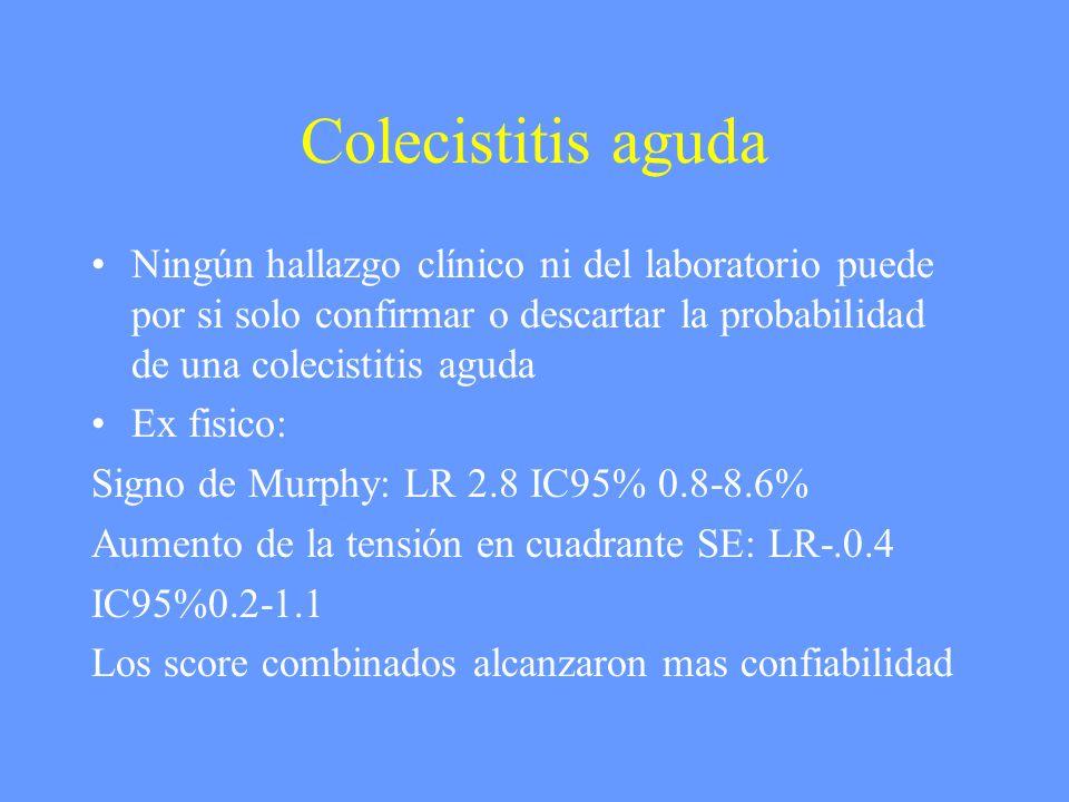 Colecistitis aguda Ningún hallazgo clínico ni del laboratorio puede por si solo confirmar o descartar la probabilidad de una colecistitis aguda Ex fis