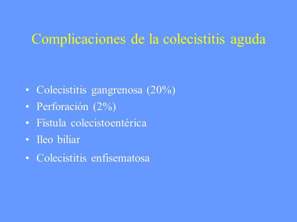 Complicaciones de la colecistitis aguda Colecistitis gangrenosa (20%) Perforación (2%) Fístula colecistoentérica Ileo biliar Colecistitis enfisematosa