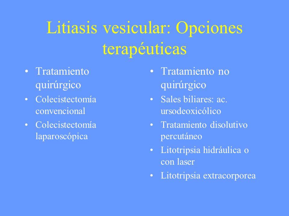 Litiasis vesicular: Opciones terapéuticas Tratamiento quirúrgico Colecistectomía convencional Colecistectomía laparoscópica Tratamiento no quirúrgico