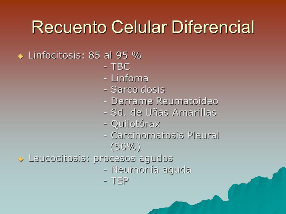 Recuento Celular Diferencial Linfocitosis: 85 al 95 % Linfocitosis: 85 al 95 % - TBC - Linfoma - Sarcoidosis - Derrame Reumatoideo - Sd.