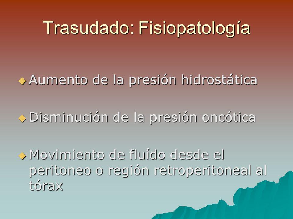 Punción Pleural Simple en Derrames Neoplásicos Rendimiento diagnóstico: 70 % Rendimiento diagnóstico: 70 % Sumando la Punción Biopsia Pleural 80%, prefiriéndose VATS Sumando la Punción Biopsia Pleural 80%, prefiriéndose VATS Sospecha de Linfoma: citometría de flujo Sospecha de Linfoma: citometría de flujo Marcadores tumorales: (-) (sensibilidad 50%) Marcadores tumorales: (-) (sensibilidad 50%) pH < 7,3 y Glucosa < 60 mg% son mal Pronóstico pH < 7,3 y Glucosa < 60 mg% son mal Pronóstico
