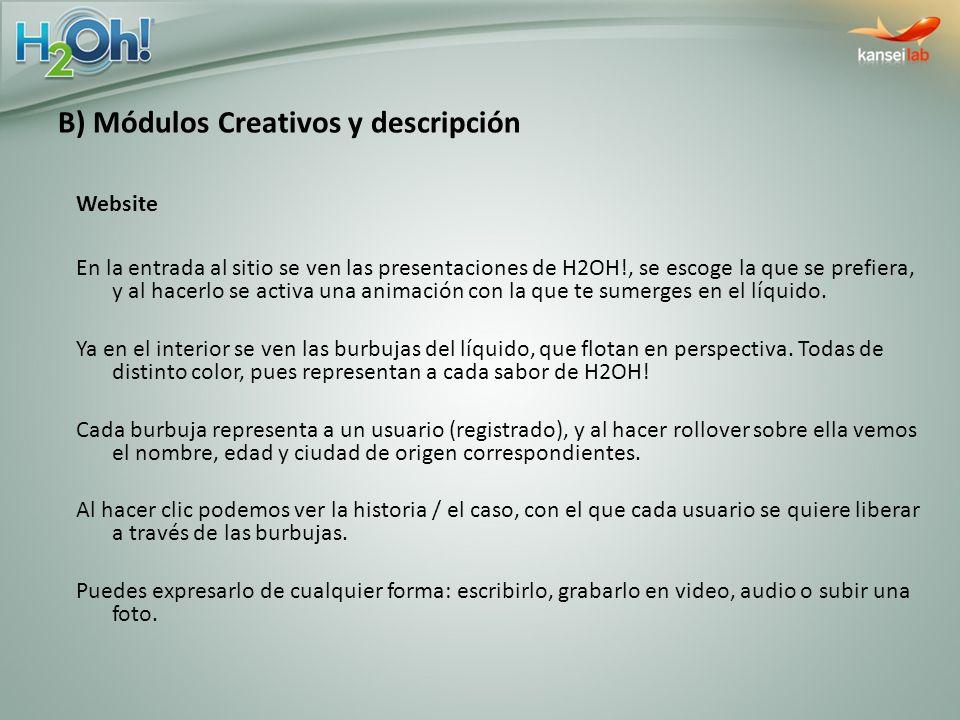 B) Módulos Creativos y descripción Website En la entrada al sitio se ven las presentaciones de H2OH!, se escoge la que se prefiera, y al hacerlo se ac