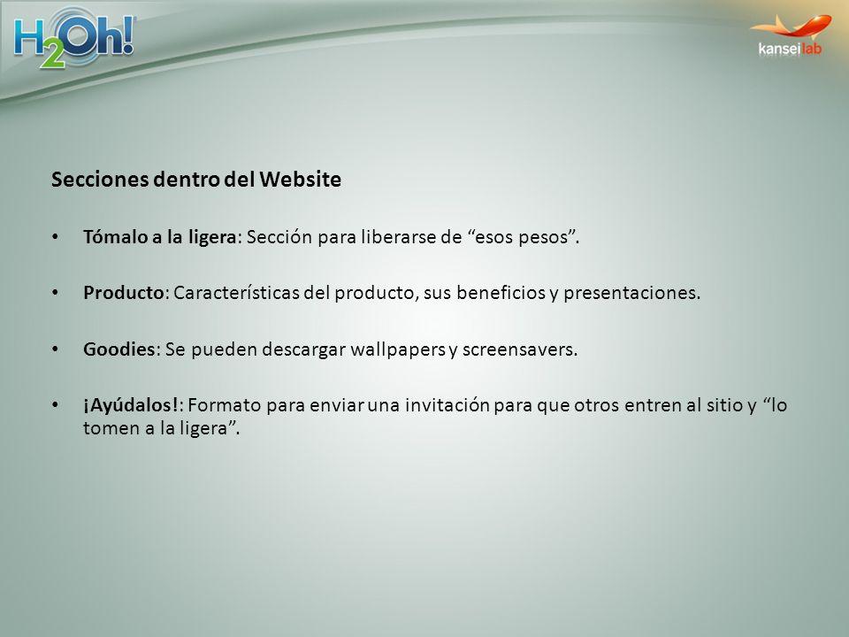 Secciones dentro del Website Tómalo a la ligera: Sección para liberarse de esos pesos. Producto: Características del producto, sus beneficios y presen