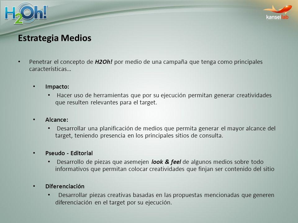 Estrategia Medios Penetrar el concepto de H2Oh! por medio de una campaña que tenga como principales características… Impacto: Hacer uso de herramienta