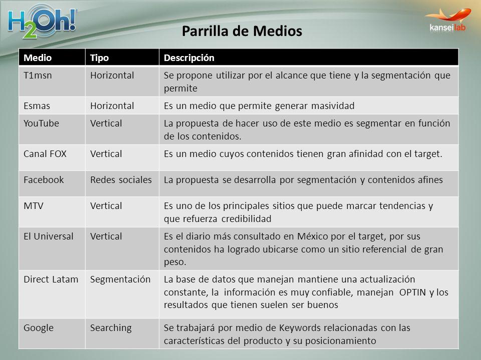MedioTipoDescripción T1msnHorizontalSe propone utilizar por el alcance que tiene y la segmentación que permite EsmasHorizontalEs un medio que permite