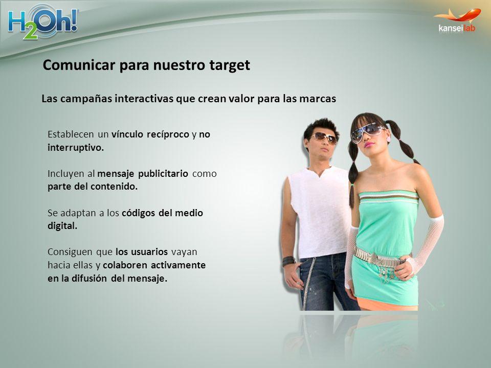 Comunicar para nuestro target Las campañas interactivas que crean valor para las marcas Establecen un vínculo recíproco y no interruptivo. Incluyen al